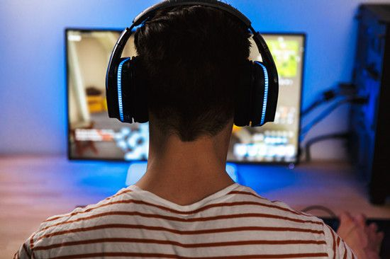 A gamer is playing PC game