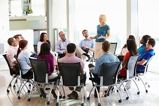 Employees gather to discuss new wellness options