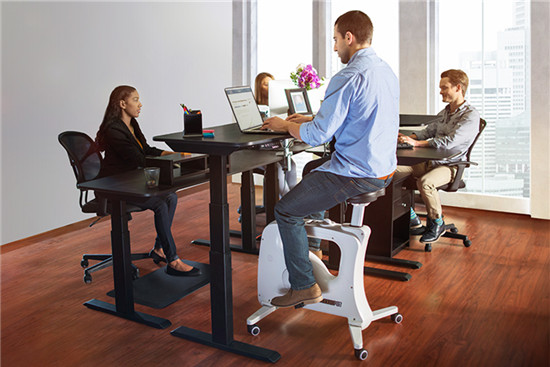 Using desk bike during work