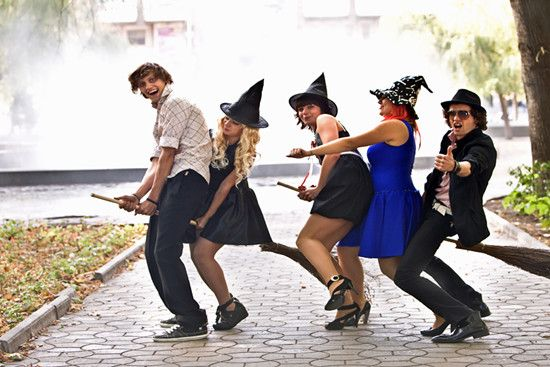 Several people are celebrating halloween