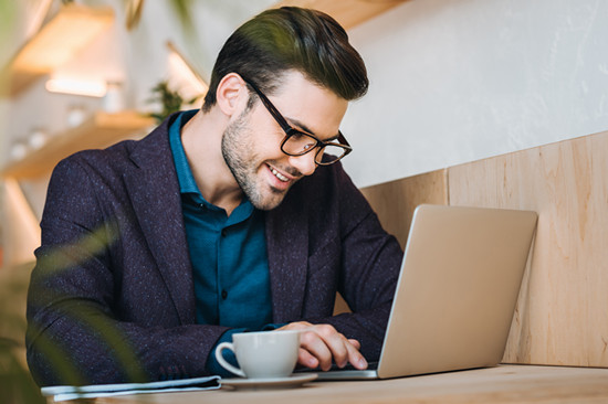 A man is working at home for his home business