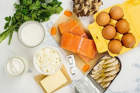 Fish, eggs, cheese, and produce