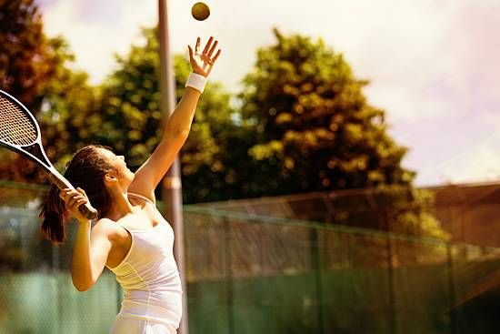 A woman plays tennis